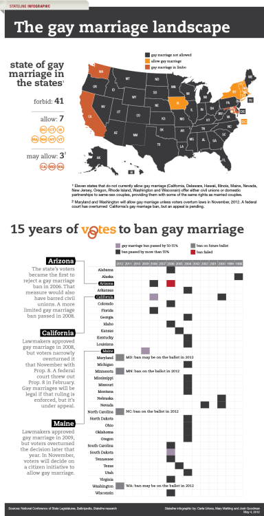 "punditspodium:  Is this year a turning point for gay marriage?  Will ""dominoes"" continue to fall to the right? Or will this be the year in which prohibition by constitution is rejected, leaving state legislators the flexibility to respond to the views of future generations and decide this issue accordingly."