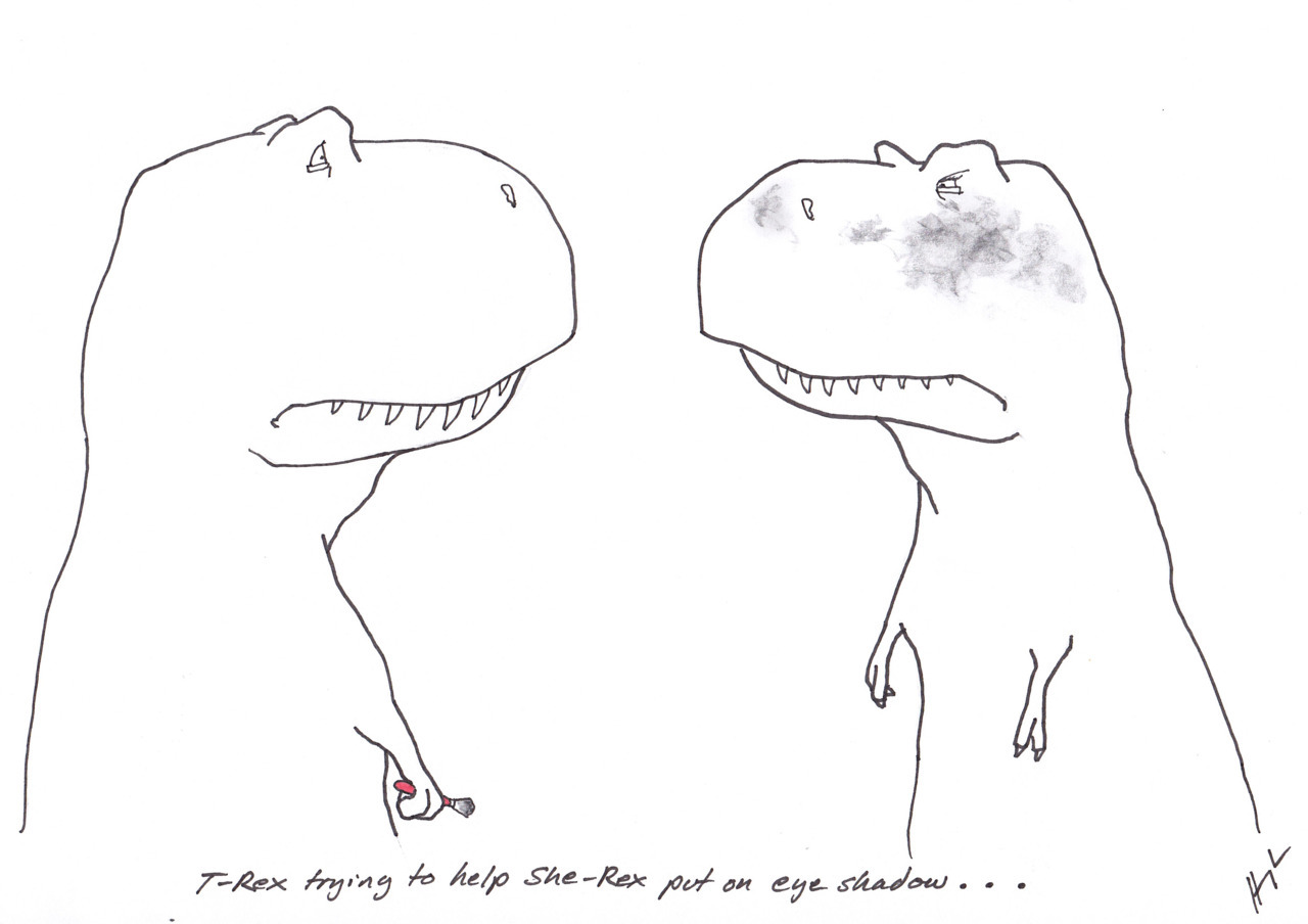 trextrying:  T-Rex Trying to Help She-Rex Put on Eye Shadow… #TRexTrying #SheRexTrying