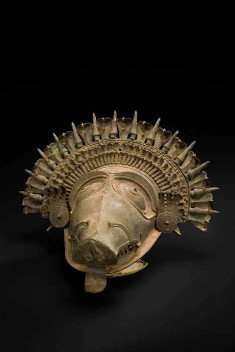 The Boar (Panjurli) brass bhuta Mask from Karnatka region, 18th-19th aprox.