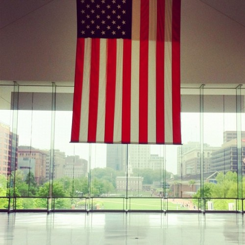 American Flag with Independence Hall in the background (Taken with Instagram at National Constitution Center)