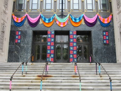 philamuseum:  The finished product of our 'Craft Spoken Here' yarnbombing!