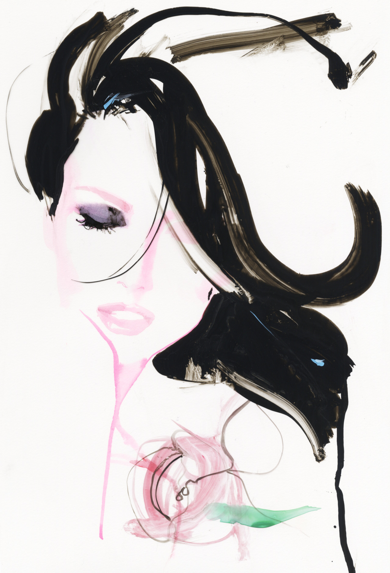 david downton's amazing illustration for harper's bazaar australia in honor of our fragrance live in love.