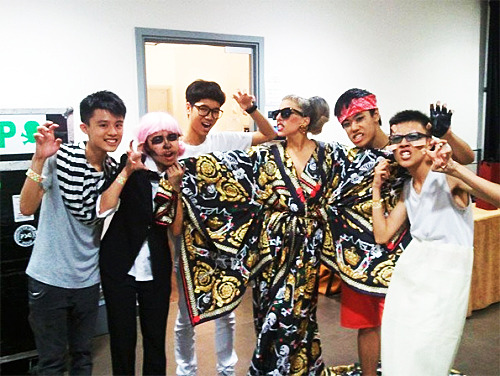 Gaga with fans backstage at the Born This Way Ball in Hong Kong, last night