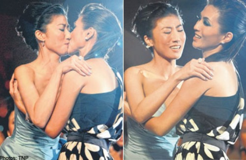 "Actresses Vivian Lai and Kate Pang kissed on stage while on the Star Awards Show in Singapore and some people just can't deal with it. Apparently several people said ""that while some women may find kissing each other to be 'trendy,' they were not used to it."" God I love when being a lesbian is on the hot list!  From today's Morning Brew."