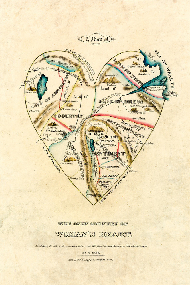 ahhh, the Pyramids of Fashion…A Map of the Open Country of a Woman's Heart - DW Kellogg c.1833-1842