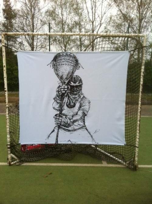 "Product Development/Prototype using the lacrosse art ""Stare Down"".  From my international retailers, Northern Soul Sportswear in the United Kingdom/European Union."