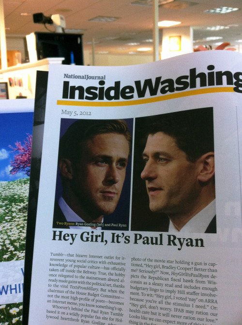 Ryan Gosling is gracing this week's National Journal & I couldn't be any happier about it. Tumblr is also discussed in the article so this page really combines two of my favorite things. -BdM