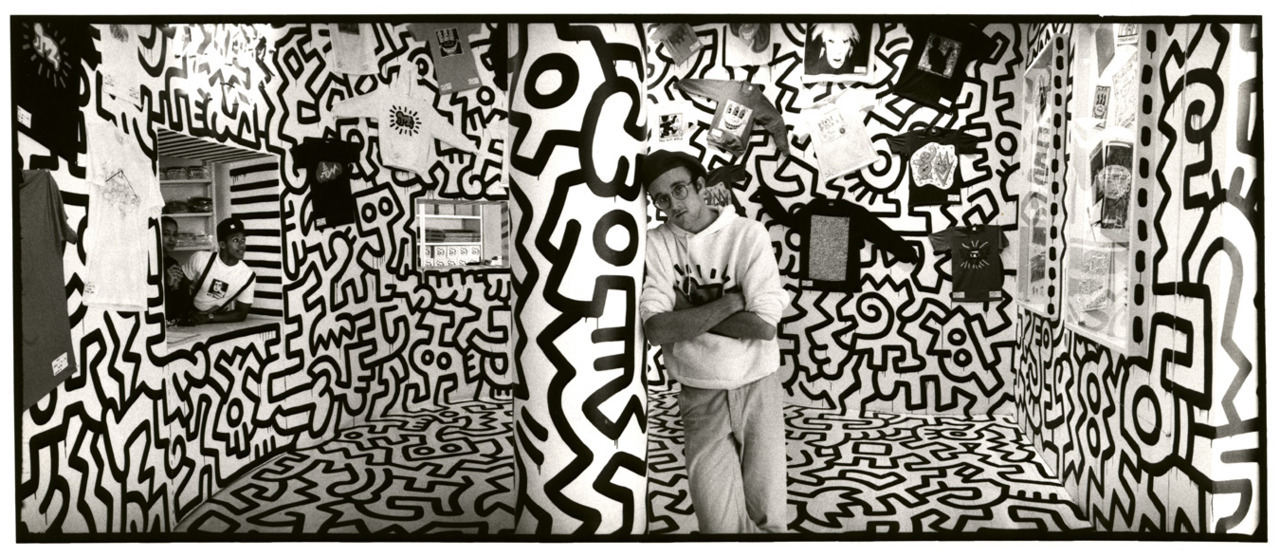 sfmoma:  Happy Birthday Keith Haring!  I don't think art is propaganda; it should be something that liberates the soul, provokes the imagination and encourages people to go further. It celebrates humanity instead of manipulating it.   – Keith Haring  Image: Detail from Keith Haring's Pop Shop, © Keith Haring artwork © Estate of Keith Haring . Photo: Charles Dolfi-Michels. Image courtesy Tate Modern.
