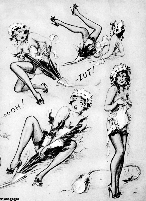 "Illustration from John Willie's ""Diary of a French Maid"" c. 1949"