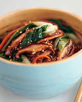 Sweet Potato Noodle Stir-Fry with Choy Sum and Shiitake Mushrooms http://www.epicurious.com/recipes/food/views/Sweet-Potato-Noodle-Stir-Fry-with-Choy-Sum-and-Shiitake-Mushrooms-232269