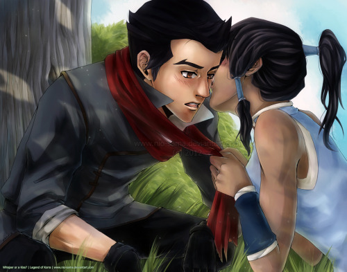 Makorra: Whisper or a Kiss? by =nio-sama I like how the background came out @A@