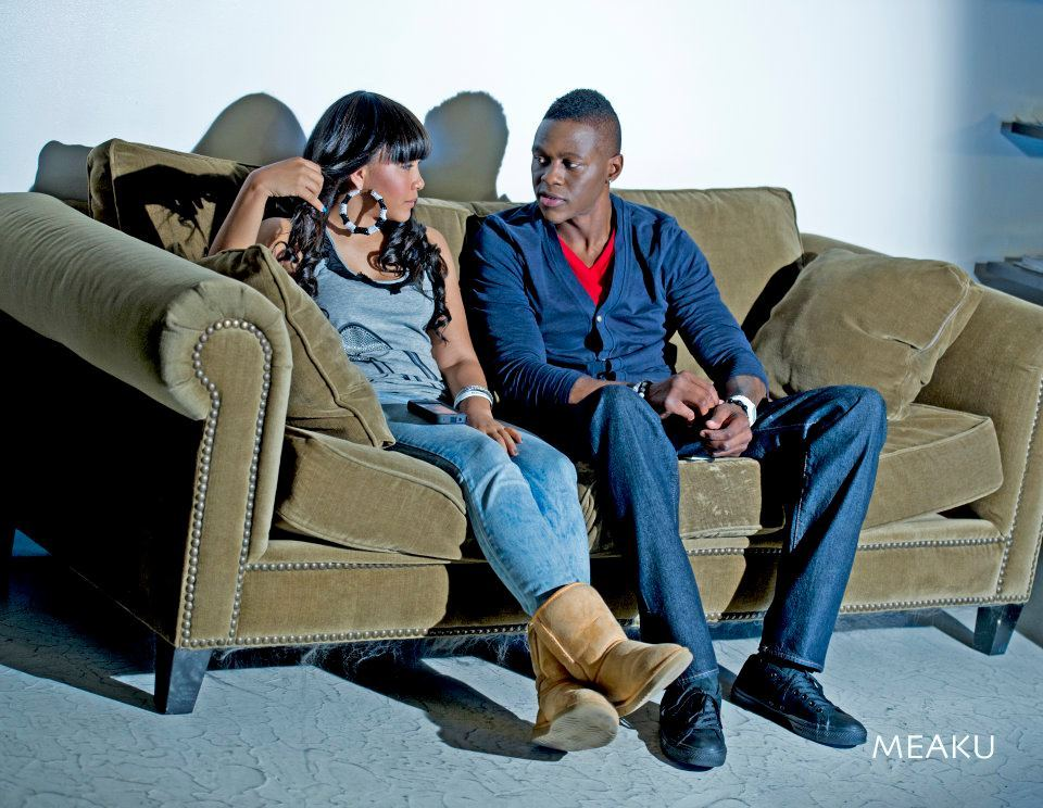 "Meaku & Brook on the set of ""Love is Real"""