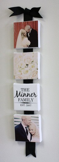 DIY Wedding Tile Display!  Supplies You Will Need: pictures tiles modge podge ribbon hot glue gun scissors Easy to create craft, totally cute!