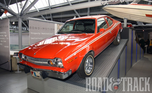 "From the ""Bond in Motion"" exhibit, one of our top 8 James Bond cars ever: AMC Hornet from The Man with the Golden Gun. (Source: Road & Track)"