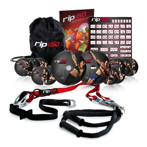 Rip 60 Fitness DVD & Suspension Trainer Set When I ordered my TRX  Trainer, I was VERY tempted to drop it in favor of the Rip 60 set. I've only ever used a TRX before and ultimately chickened out, favoring familiarity. Allison, one of my bootcampers, recently bought herself the Rip 60 set and swears that it's AMAZING. She LOVES following the DVD's, which may be something that beginners might find beneficial (while the TRX comes with one DVD, it's more of a tool you can use on the go or on your own). She also says that it's HARD (not as hard as bootcamp, of course. :) I have yet to test it out, but for those of you looking for something to rev up your body for summer, this set seems like a great investment and WAY less expensive than some other fitness series out there! It's like a cross between P90X and TRX. Intensity guaranteed! The Rip 60 set comes with… A pair of workout straps (support up to 600lbs) 8 DVD progression to keep your muscles guessing.  4 Bonus workouts (George St. Pierre & Jillian Michaels each have their own DVD, plus there's a bonus Yoga disc and one for runners). Nutrition guide, wall chart & travel bag.  Has anyone tried Rip 60? How did you like it?