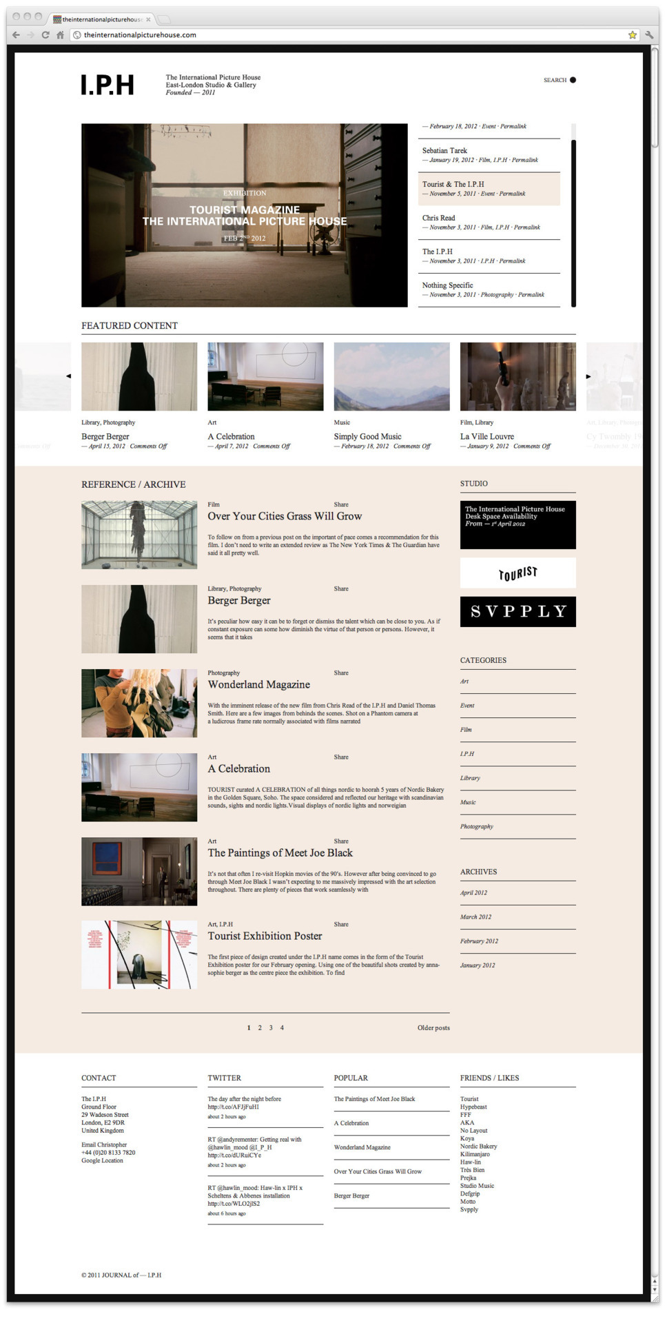 Website for studio and gallery IPH, built on wordpress using Synch.