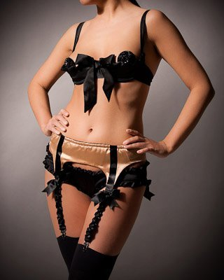 Frilly fabulousness! A blast from the past. Charming Darling panties and quarter cup bra with Tie One On garter belt :)