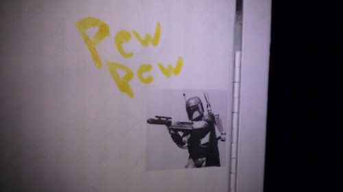 Getting down with Boba Fett stickers all over town.