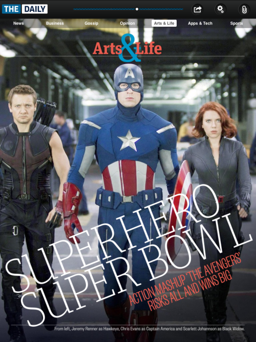 "Grab the popcorn and get ready for the Superhero Superbowl! 'The Avengers' is officially awesome. Here's a bit of David Walters' review:   Want to give a comic book nerd a headache? Ask him which superhero from Marvel Studios' star-glutted mega-franchise ""The Avengers"" is the super-est. Iron Man? Thor? Hawkeye, for making a bow and arrow seem like an appropriate weapon for fending off alien attacks? All good guesses, but all wrong. The title goes to white-hot writer/director Joss Whedon (""The Cabin in the Woods""), who took the gaudiest, most daunting directive in recent cinematic history — lash six tent-pole franchises together to make one epic crossover film that won't disappoint the most frenzied and critical fans on the planet or annoy the rest of us — and produced a sure-fire blockbuster that is easily greater than the sum of its parts. (And all for an economical $220 million!)"