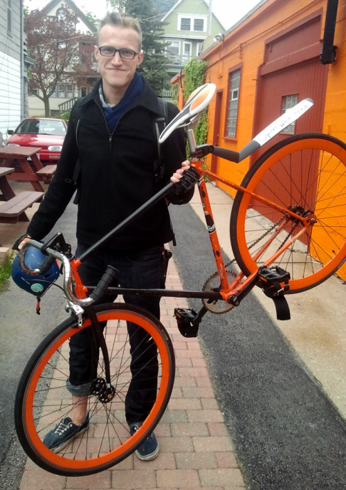 Friend of the shop, Zach just stopped in and grabbed a new saddle, stem, and some awesome drop bars. Check out that orange and black!