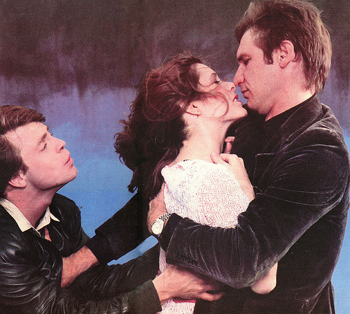 Promo shot of Mark Hamill, Carrie Fisher and Harrison Ford in Star Wars: Episode V - The Empire Strikes Back  #wait luke wants to kiss #han #right #right sure yep