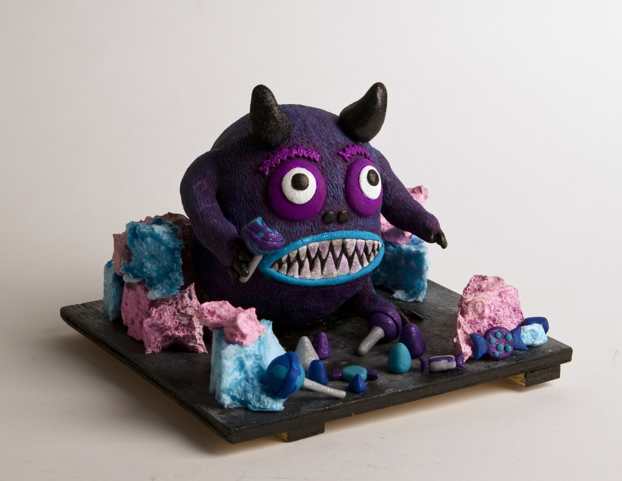 Candy Monster fully finished. Done in Super Sculpey, painted with acrylics.
