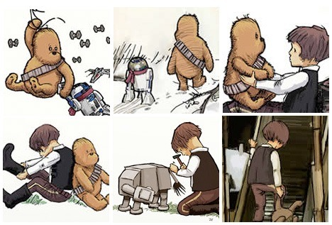 amandaonwriting:  James Hance draws Han Solo as Christopher Robin, Chewbacca as Pooh Bear, R2D2 as Piglet, and even an AT-AT as Eeyore.