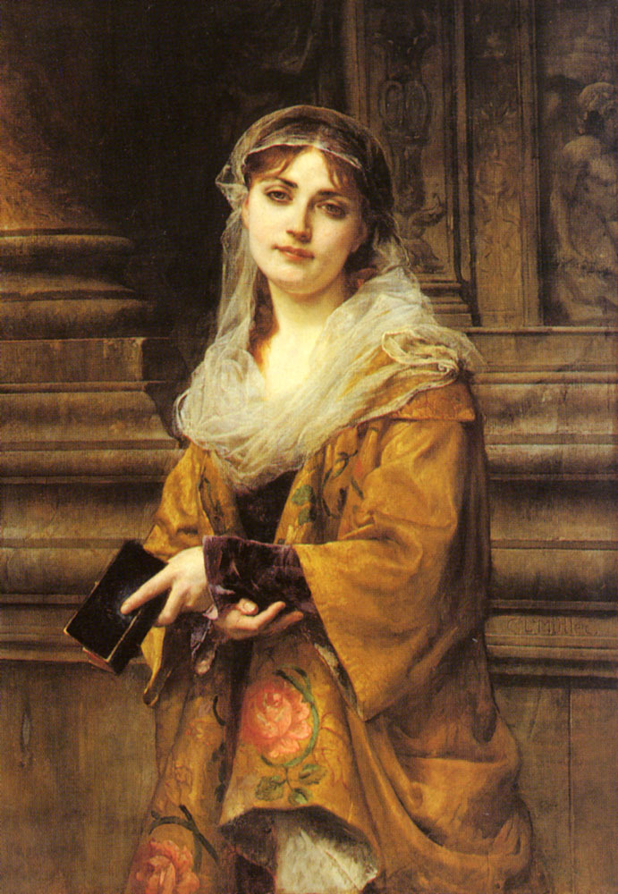 Charles-Louis Müller (1815-1892) - A Young Woman Outside A Church