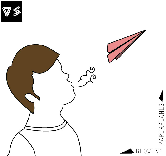 Ilustración digital. Blowin' Paperplanes (soplando a aviones de papel). Digital Illustration. Blowin' Paperplanes.