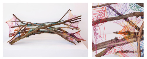 "FAGGOT (RECLINING) branches, copper bracing, embroidery floss 42"" x 19"" x 15"" (approx.) 2012"