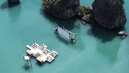 Check out this amazing floating, recycled movie theater!