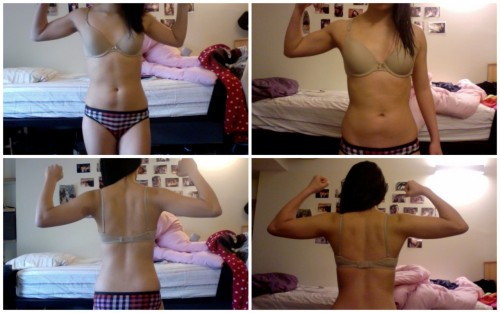 12 week progress :) Before shots on the left, after shots on the right. So happy to see definite muscle gains on my back, shoulders, traps, and arms~