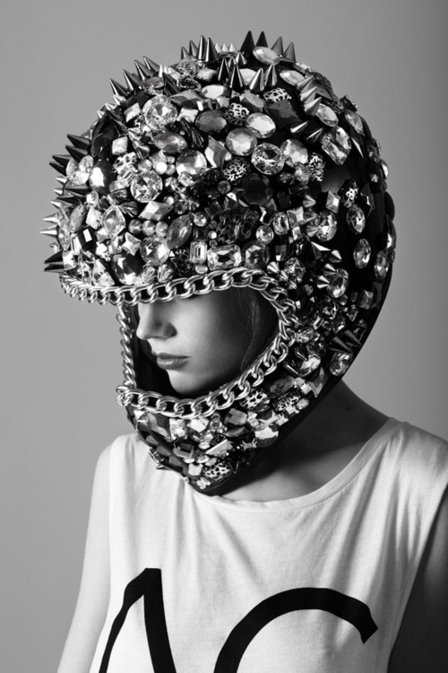 wgsn:  Integrating luxury with safety gear. This photo is great inspiration to heavily embellish rock 'n' roll looks. Safety first!