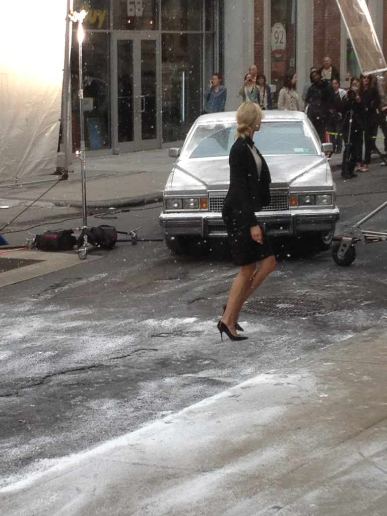 "Karolina Kurkova in the ""snow"" on my block. It's 80 degrees Fahrenheit…"