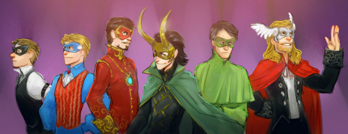 Marvel Masquerade Ball (Hawkeye, Captain America, Iron Man, Loki, Hulk, and Thor) | art by MisterKay  {via lilprince | drquinzel | lilprince | sdkay}