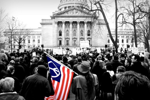 Photo I took of the Wisconsin protests last year. Prints are for sale. Order here. Jenna Pope Photography