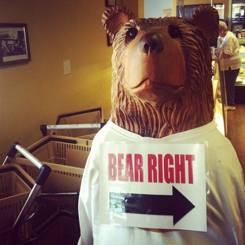 Bear Right! So does that mean he's always correct or conservative? #lol #bear #statue #shirt #carving #wood (Taken with Instagram at Dudley's Bakery)