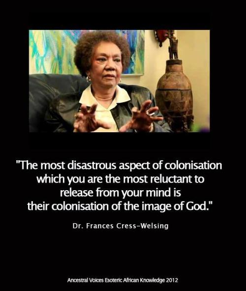 codelens:  Dr. Frances Cress-Welsing, author of The Isis Papers: The Keys to the Color and founder of the Cress-Welsing Institute of Psychiatry and Social Research