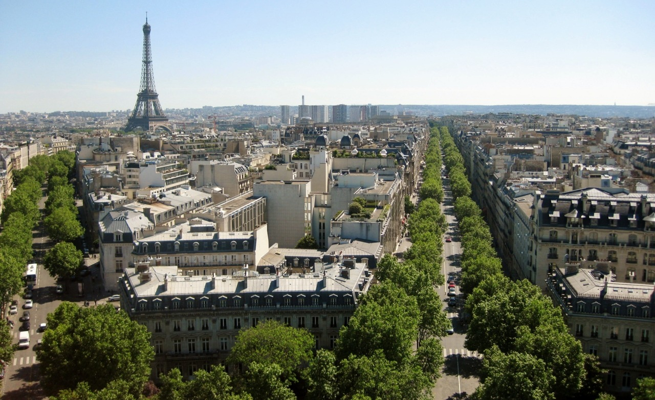As viewed from atop the Arc de Triomphe. Paris, France. Photo by Amber Maitrejean