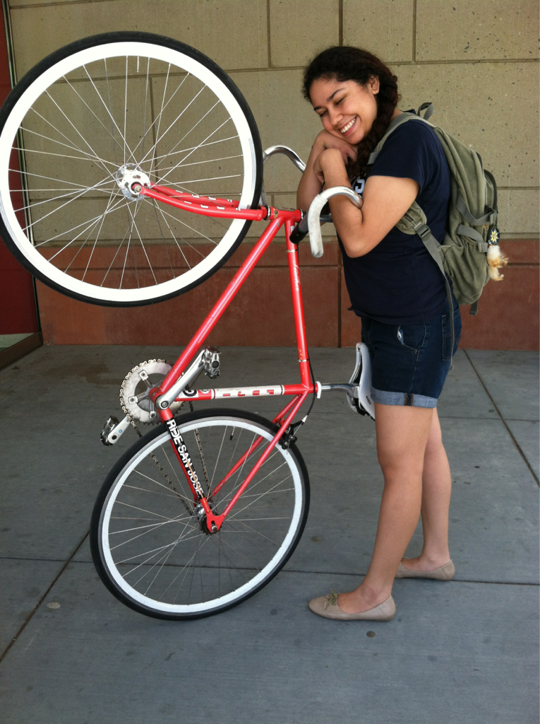 welovedavis:  My bike is like my baby. I love my beautiful fixie. So this is me attempting to hug my bike. - Brianna