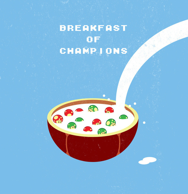 insanelygaming:  Breakfast of Champions Created by Chris Redford Available on Society6  Con efectos alucinojenos xD