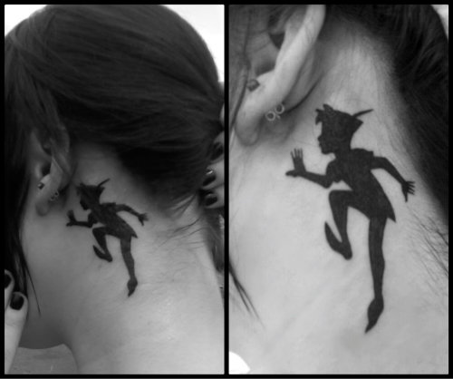 This is my newest tattoo of Peter Pan's silhouette behind my ear! Was gonna get it smaller but Im definitely glad I went with the bigger one, it looks fantastic! I love it. It was done by Brian at Tymeless Tattoo in Baldwinsville NY :D