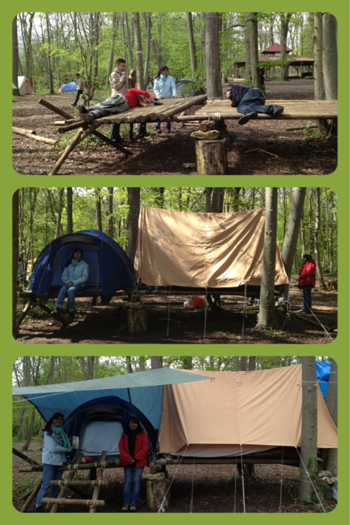 We had a scout camp in april and we decided to set up our tents on stilts, and so this is the result :) We made it !