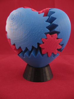 Rotating Gear Heart (3D Printed) — Large