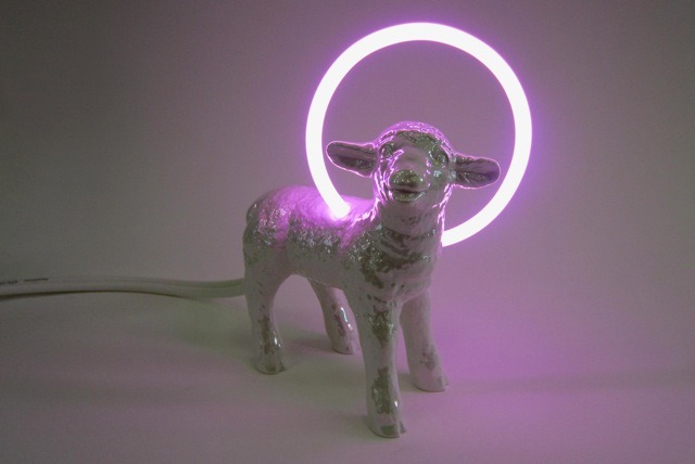 ART AUCTION 2012 David Adey,The New Lamb, 2012, ceramic, neon, electrics, 9 inches, Courtesy of the artist and Luis De Jesus Los Angeles.