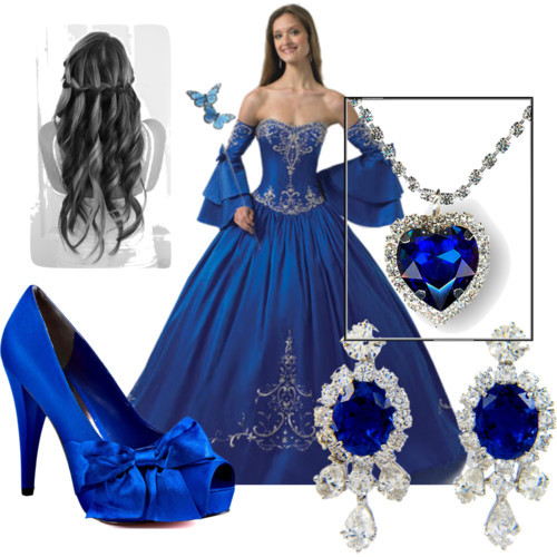 Blue Dresses by chantelrivera featuring quinceanera gownsParis Hilton platform pumps, $95Crystal jewelry, £50Antique earrings