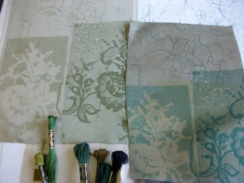 lace photocopy transfers and embroidery threads