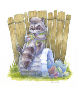 Raccoons love garbage! Commissioned piece for Rackety. Did this with just pencils, no inking, because I wanted to try to lean more heavily on the watercolor to sell the shapes and structure, rather than the inking.  It is kind of hard to do!
