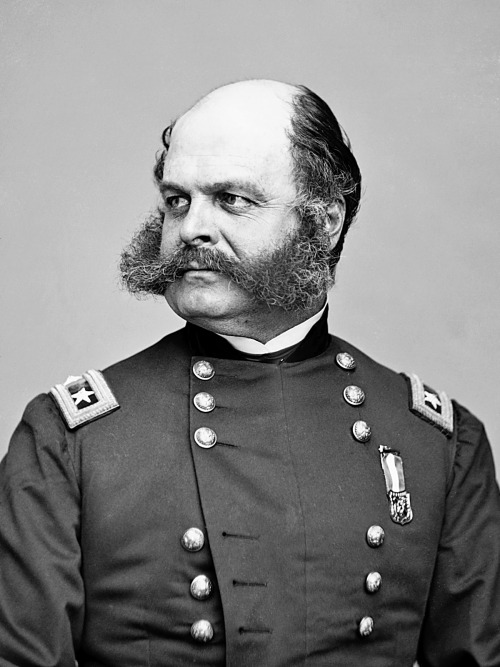 "A portrait of American Civil War general Ambrose Burnside. He is also the man responsible for the word ""sideburns,"" which were originally called ""burnsides"" before the syllables were reversed."
