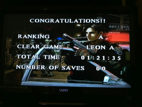 Got a new personal best on Resident Evil 2 last night. I'm literally 1 minute and 35 seconds away from my goal to have my runs at or under 1:20:00!